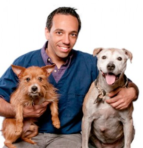 Dr Jeremy Tarlow with his two dogs Sprout and Friday